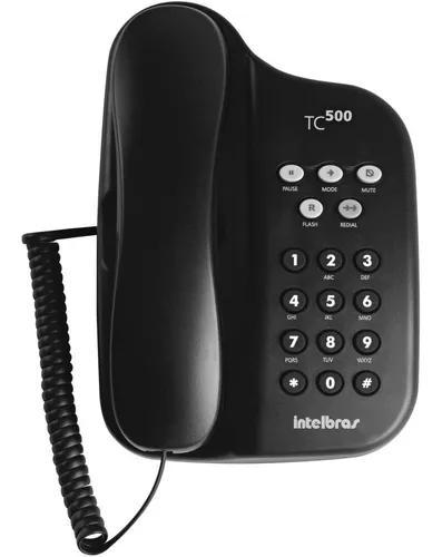 Telefone fixo com fio tc 500 preto intelbras