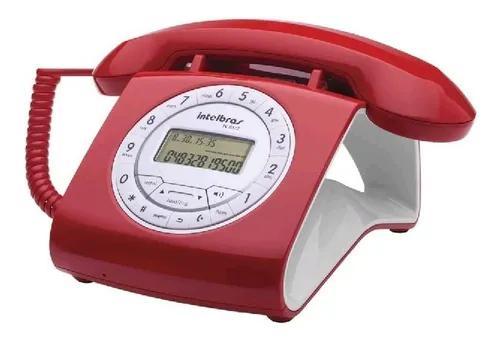 Telefone retro vintage com fio tc8312 vermelho - intelbras