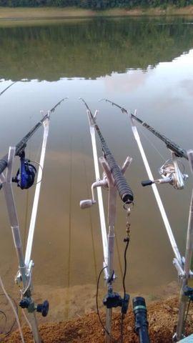 3 suportes para pesca na batida de alumínio