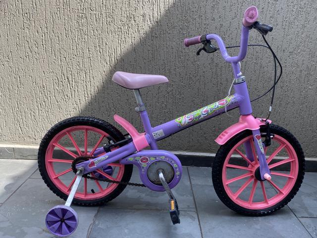Bicicleta infantil feminina top girls aro 16 usada