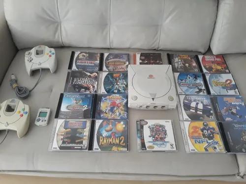 Dreamcast branquinho completo + 2 controles + jogos