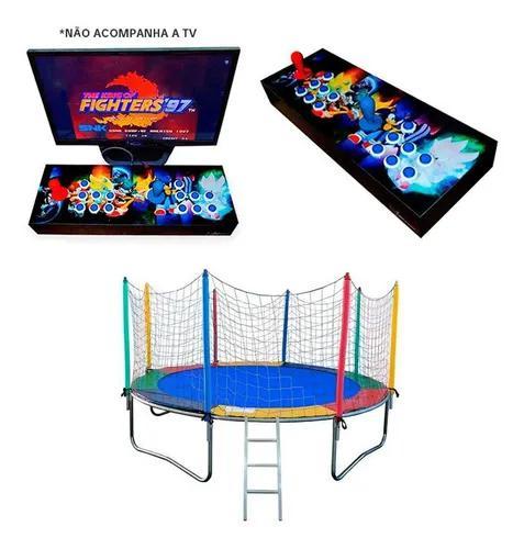 Fliperama portatil com mais de 3 mil jogos e cama elástica