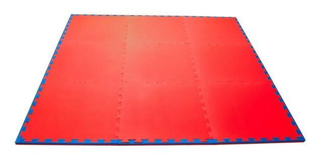 Kit home tatame 9 m2 - 30mm - yamamura - azul e vermelho