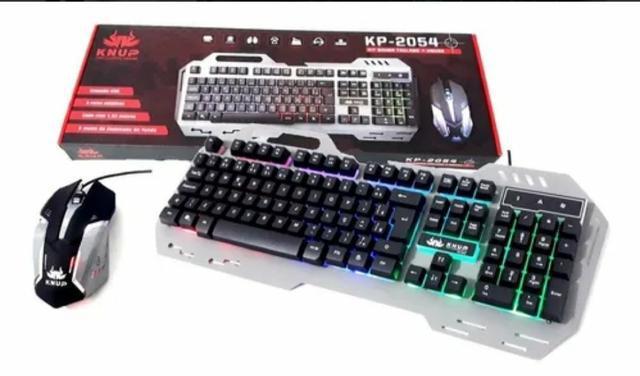 Kit Mouse Teclado Gamer Usb Luminoso Knup Kp-2054