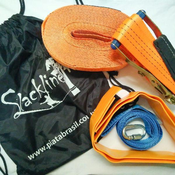 Kit slackline 15m - cinta + catraca + protetor + bolsa