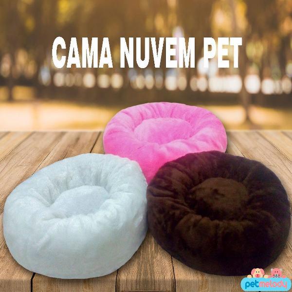 Cama nuvem de pelúcia gg cães e gatos pet com tapete