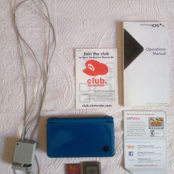 Console nintendo dsi xl azul completo com acessórios