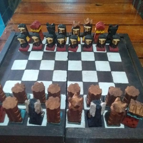 Jogo de xadrez artesanal, jogo de xadrez esculpido