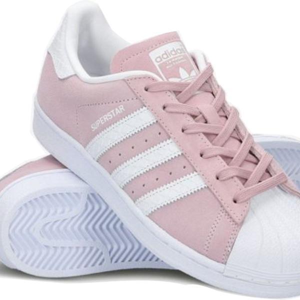 Tenis adidas superstar rosa de camurça em oferta