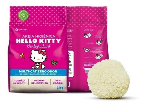 Areia higiênica hello kitty bio fina rosa para gatos 2kg