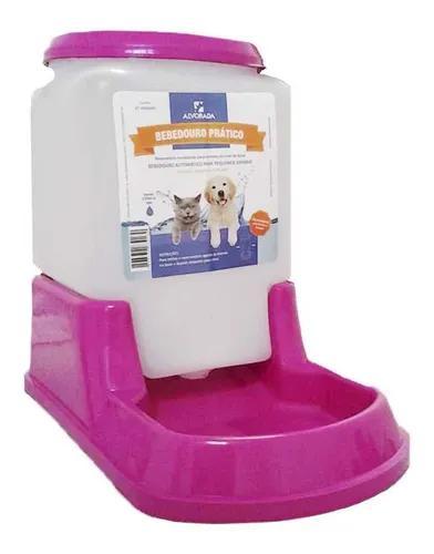 Bebedouro prático automático cães e gatos rosa alvorada