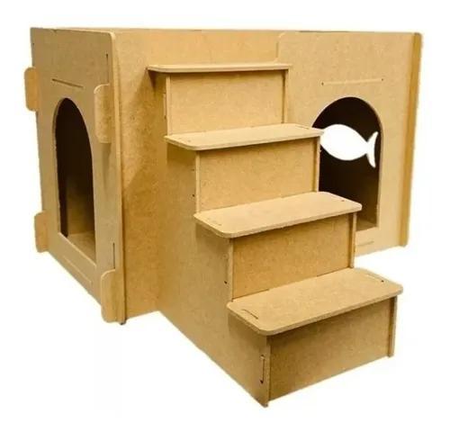 Brinquedos gatos porta escada gato casinha casa pet mdf