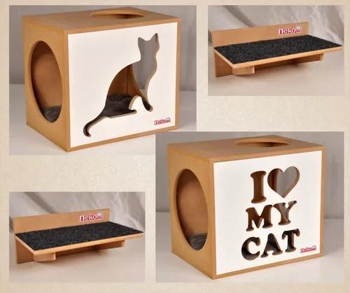 Kit 2 nichos gatos c/almofada +2 prat c/carp frente branca