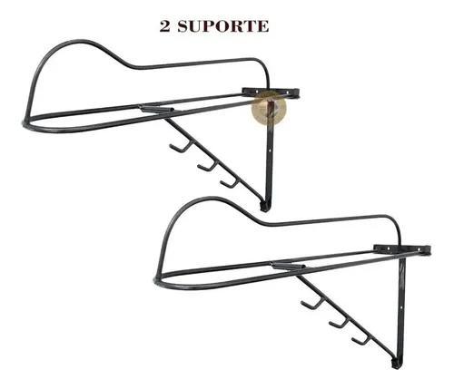Kit 2 suporte para sela de parede ferro liso + 3 gancho -