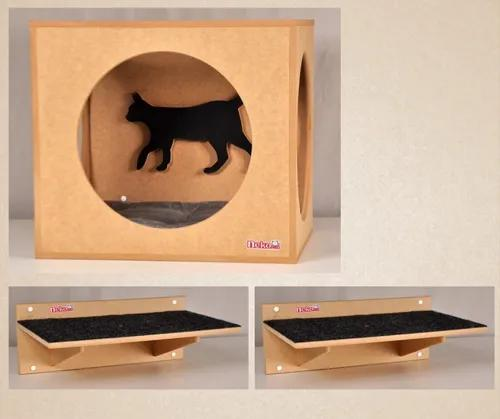 Nicho gatos gde c/almofada + 2 prateleiras gde c/ carpete