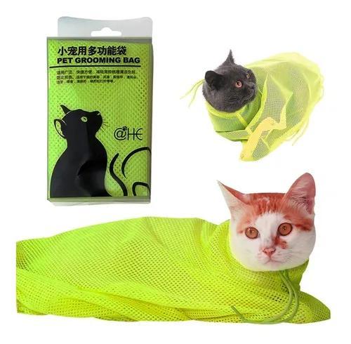 Saco de malha banho de gatos contenção banho medicação