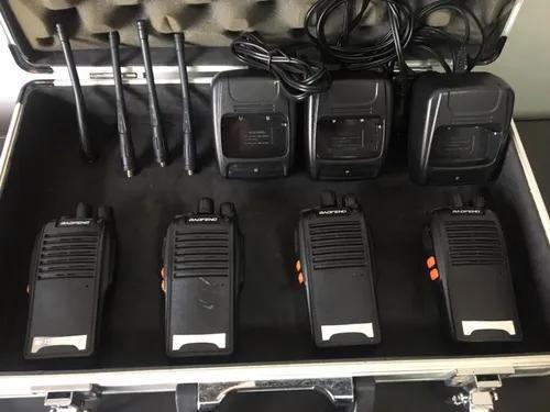 Kit 04 rádios baofeng bf-777s walk talk 10km 4 fones usado