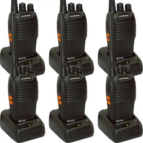 Kit 6 rádios comunicador vhf/uhf bf-777s walktalk