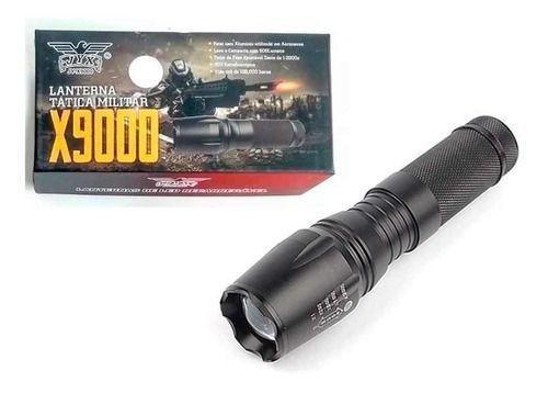 Lanterna led tática militar x9000 recarregável police zoom
