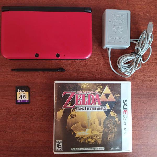 Nintendo 3ds xl vermelho completo + jogo