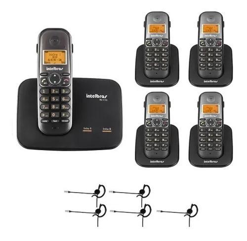 Telefone 2 linhas ts 5150 + 4 ramais + 5 fones intelbras