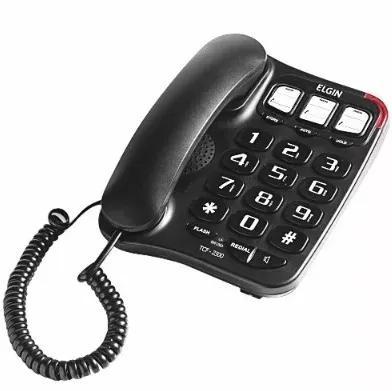 Telefone Com Fio Elgin Tcf2300 Preto - Viva Voz Barato