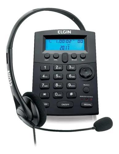 Telefone elgin headset com identificador preto hst 8000