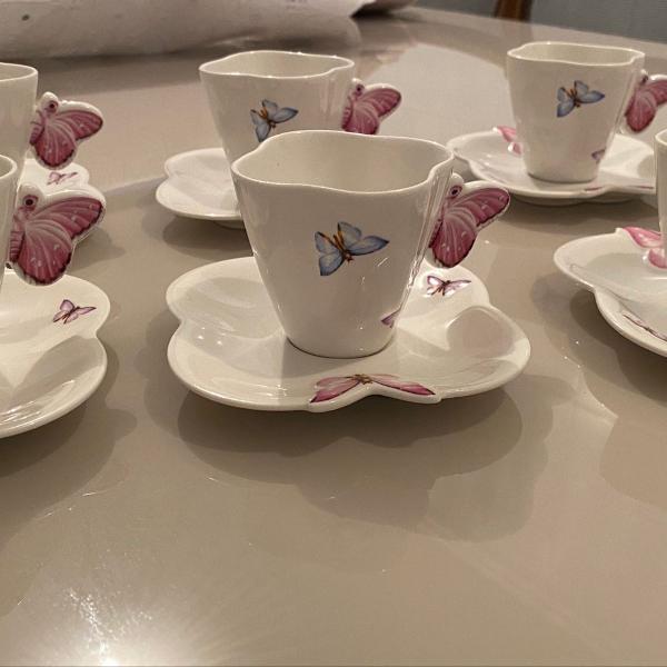 Jogo xícara borboleta porcelana wolff - café 100 ml