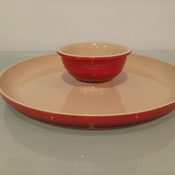 Le creuset prato para aperitivo vermelho - petisqueira