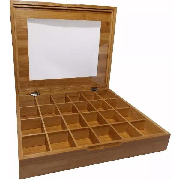Suporte porta cápsulas 24 nichos caixa organizadora bambu