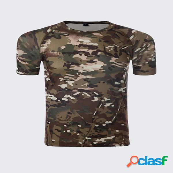 Camiseta esportiva tática militar masculina ajuste fino manga curta