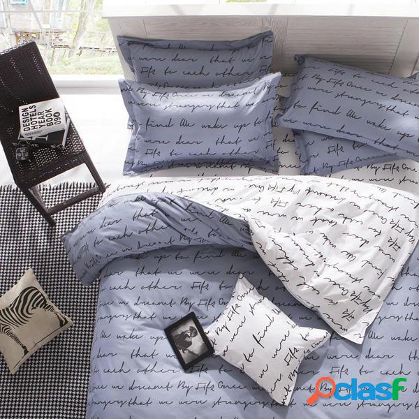 3 ou 4pcs fibras de poliéster letters reactive dyeing bedding sets single twin queen size