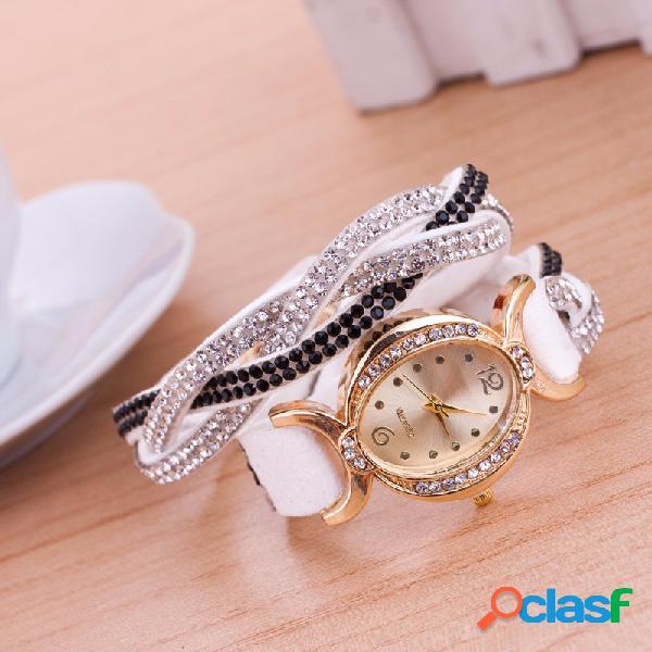 Relógio moderno oval feminino strass colorido pulseira de veludo
