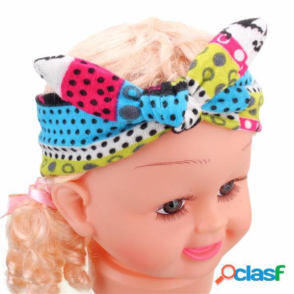 Crianças menina de algodão flor arco hairband turbante nó headband do coelho headwear