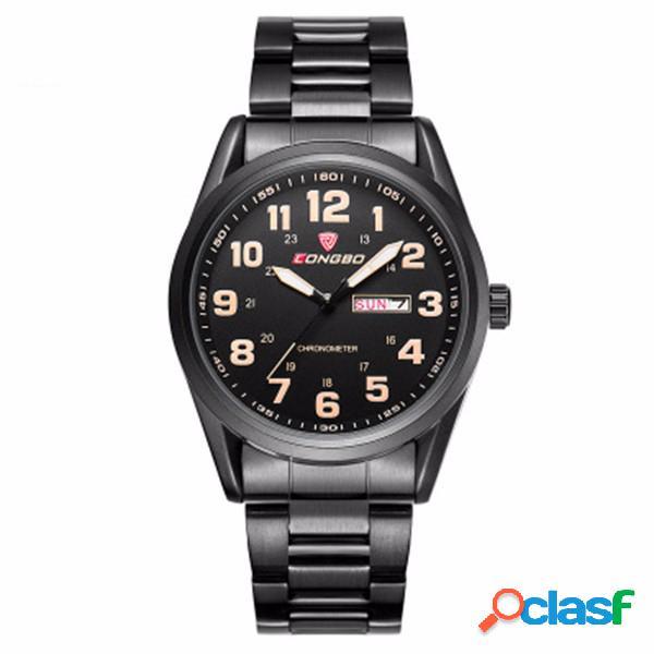 Longbo relógio masculino de pu/aço inoxidável luminoso exibição de dia/semana