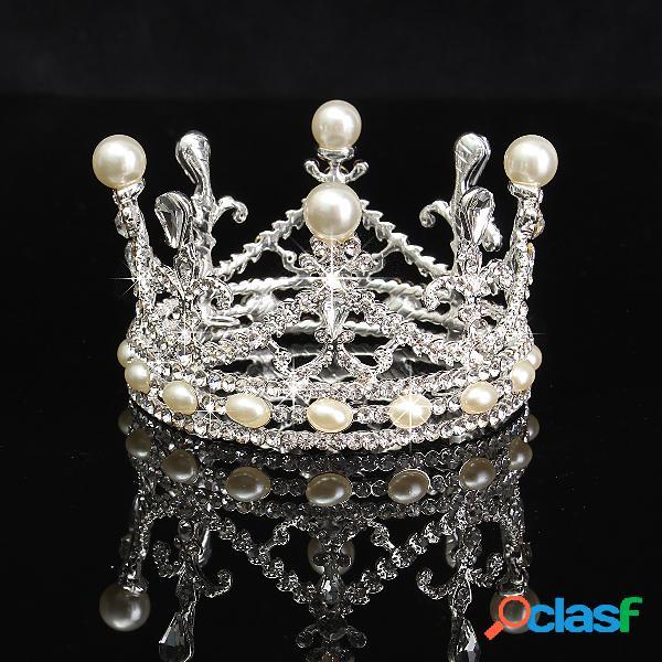 Noiva strass diamante pérola coroa tiara cabeça jóias princesa rainha headpiece acessórios do casamento
