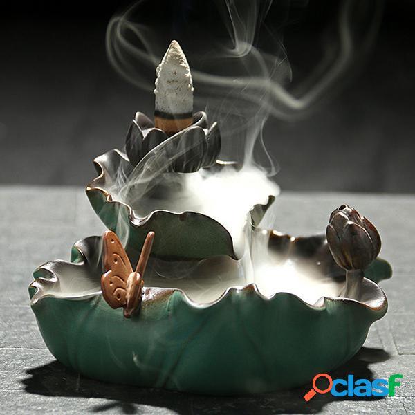 Handmade ceramic lotus sculpt backflow incense burner com 10 converse backs