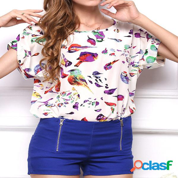 Camiseta feminina estampada de chiffon de gola redonda manga curta