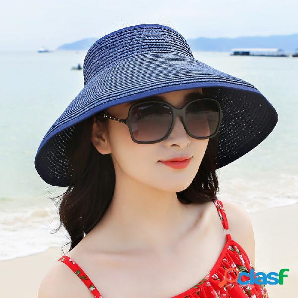 Chapéu dobrável com aba largura e laço borboleta chapéu de praia de verão de viagem para mulheres