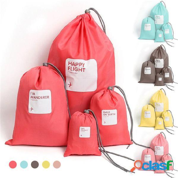 4 peças saco de armazenamento nylon impermeável para viagem