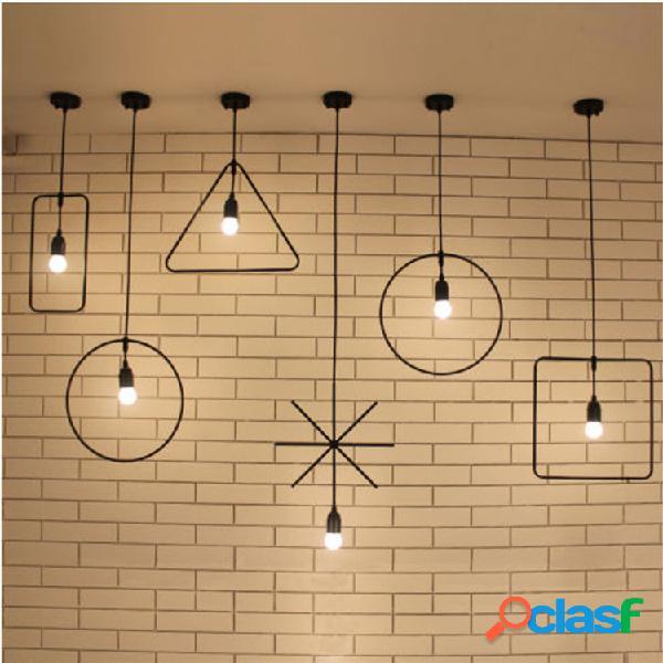 Industrial retro vintage preto pendente geométrico lâmpada bar suspenso teto luz sala de estar casa dezembro