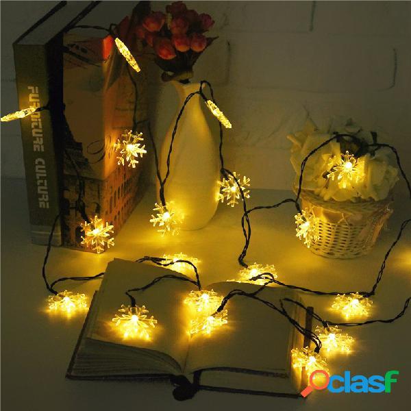 Solar powered 5m 20led floco de neve bling fairy string lights decoração em casa ao ar livre do natal