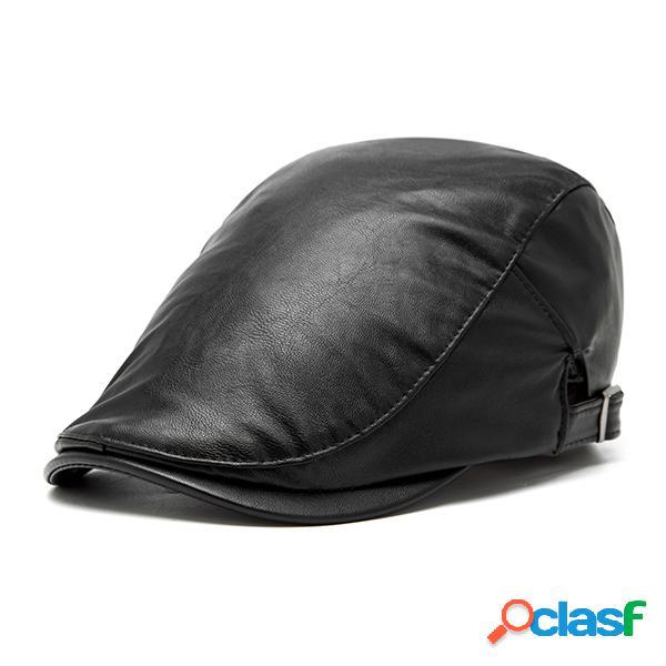 Chapéu vintage de pu couro beret casual outdoor chapéu adjustável com aba a prova de vento
