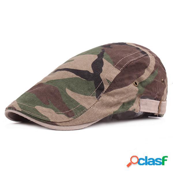Chapéu masculino com camuflagem de algodão chapéu de boina para viagem ajustável respirável chapéu de sol