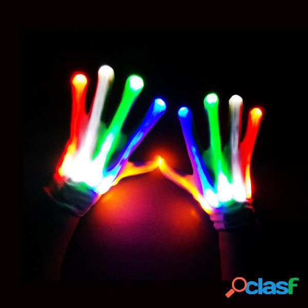 Luvas de luvas led luvas de halloween surpreendentes light up rave gloves skeleton