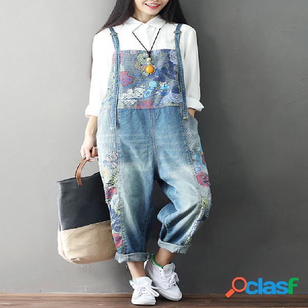 Macacão casual solto com impresssão e bolsos de jeans para mulheres