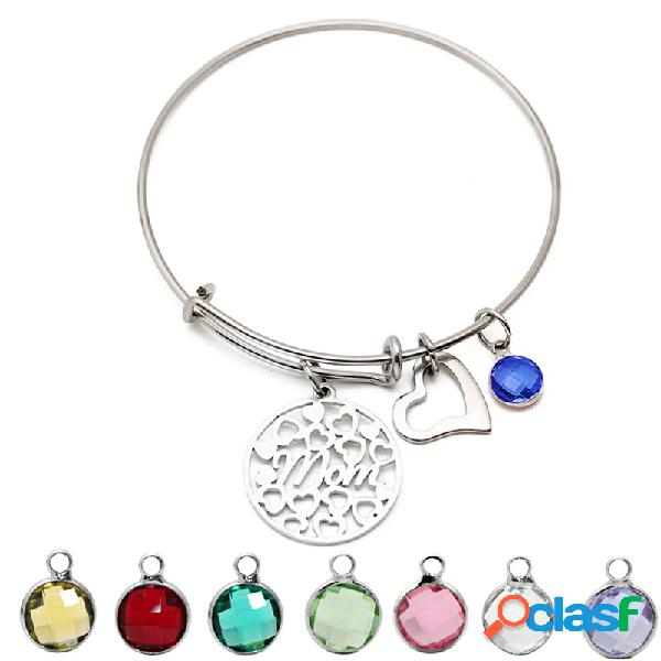 Amor de coração das mulheres pendente de birthstone colorido pendente de aço inoxidável presente para a mãe