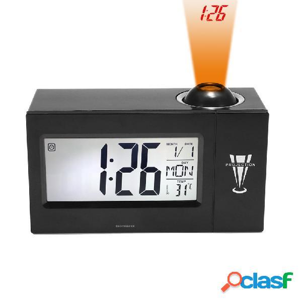 """Despertador de projeção de tempo de cama binwo relógio digital com 4 """"big led display para day date tempera"""