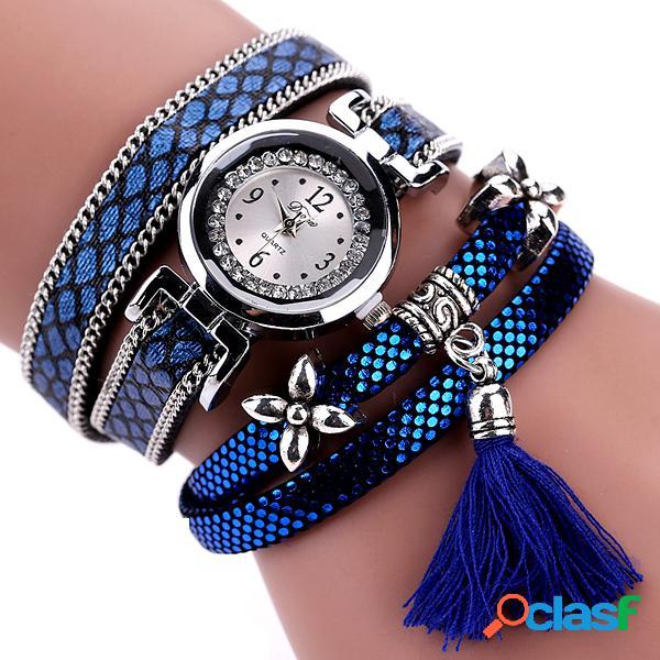 Relógio moderno de quartzo pulseira multicamada modelo de serpentina