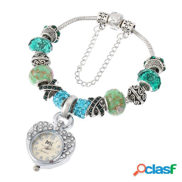 Cristal de cristal doce frisado pulseira coração pingente relógio de pulso para mulheres presente para meninas